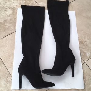 Public Desire synthetic suede over the knee boots